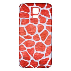 Skin1 White Marble & Red Brushed Metal (r) Samsung Galaxy S5 Back Case (white) by trendistuff