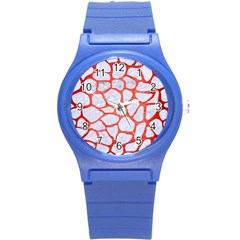 Skin1 White Marble & Red Brushed Metal Round Plastic Sport Watch (s) by trendistuff