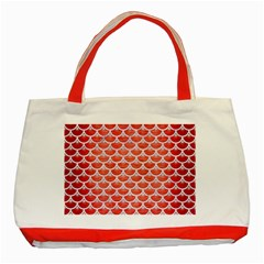 Scales3 White Marble & Red Brushed Metal Classic Tote Bag (red) by trendistuff