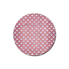 Scales2 White Marble & Red Brushed Metal (r) Rubber Round Coaster (4 Pack)