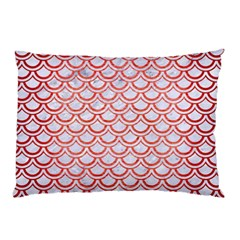 Scales2 White Marble & Red Brushed Metal (r) Pillow Case by trendistuff
