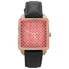 Scales2 White Marble & Red Brushed Metal Rose Gold Leather Watch  by trendistuff