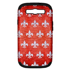 Royal1 White Marble & Red Brushed Metal (r) Samsung Galaxy S Iii Hardshell Case (pc+silicone) by trendistuff