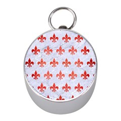 Royal1 White Marble & Red Brushed Metal Mini Silver Compasses by trendistuff