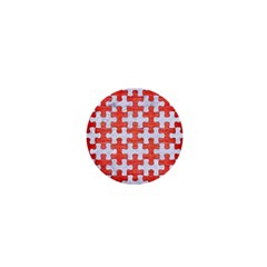 Puzzle1 White Marble & Red Brushed Metal 1  Mini Magnets by trendistuff