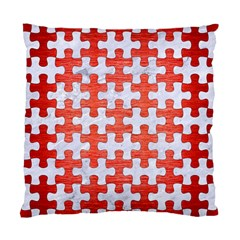 Puzzle1 White Marble & Red Brushed Metal Standard Cushion Case (two Sides) by trendistuff