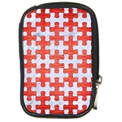 Puzzle1 White Marble & Red Brushed Metal Compact Camera Cases by trendistuff
