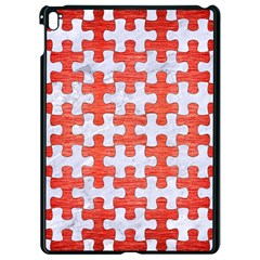 Puzzle1 White Marble & Red Brushed Metal Apple Ipad Pro 9 7   Black Seamless Case