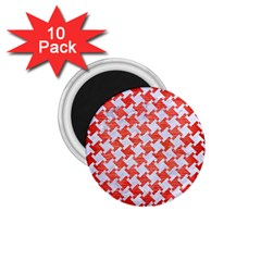 Houndstooth2 White Marble & Red Brushed Metal 1 75  Magnets (10 Pack)  by trendistuff