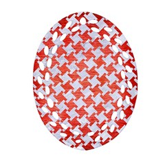 Houndstooth2 White Marble & Red Brushed Metal Ornament (oval Filigree) by trendistuff