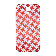 Houndstooth2 White Marble & Red Brushed Metal Samsung Galaxy S4 I9500/i9505  Hardshell Back Case by trendistuff