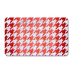 Houndstooth1 White Marble & Red Brushed Metal Magnet (rectangular) by trendistuff