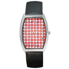Houndstooth1 White Marble & Red Brushed Metal Barrel Style Metal Watch by trendistuff