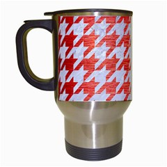 Houndstooth1 White Marble & Red Brushed Metal Travel Mugs (white) by trendistuff