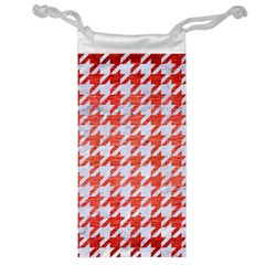 Houndstooth1 White Marble & Red Brushed Metal Jewelry Bag by trendistuff