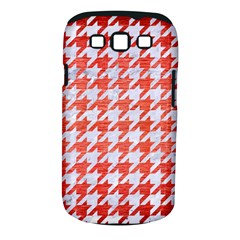 Houndstooth1 White Marble & Red Brushed Metal Samsung Galaxy S Iii Classic Hardshell Case (pc+silicone) by trendistuff