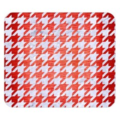 Houndstooth1 White Marble & Red Brushed Metal Double Sided Flano Blanket (small)  by trendistuff