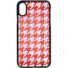 Houndstooth1 White Marble & Red Brushed Metal Apple Iphone X Seamless Case (black)