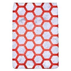 Hexagon2 White Marble & Red Brushed Metal (r) Flap Covers (l)  by trendistuff