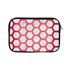 Hexagon2 White Marble & Red Brushed Metal (r) Apple Ipad Mini Zipper Cases by trendistuff