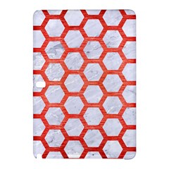 Hexagon2 White Marble & Red Brushed Metal (r) Samsung Galaxy Tab Pro 12 2 Hardshell Case by trendistuff