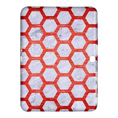 Hexagon2 White Marble & Red Brushed Metal (r) Samsung Galaxy Tab 4 (10 1 ) Hardshell Case  by trendistuff