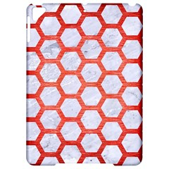 Hexagon2 White Marble & Red Brushed Metal (r) Apple Ipad Pro 9 7   Hardshell Case by trendistuff
