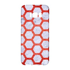 Hexagon2 White Marble & Red Brushed Metal (r) Samsung Galaxy S8 Hardshell Case