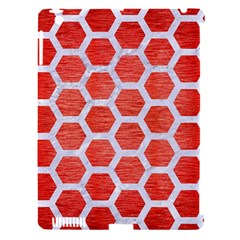 Hexagon2 White Marble & Red Brushed Metal Apple Ipad 3/4 Hardshell Case (compatible With Smart Cover) by trendistuff