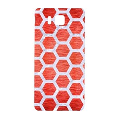 Hexagon2 White Marble & Red Brushed Metal Samsung Galaxy Alpha Hardshell Back Case by trendistuff