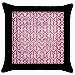 Hexagon1 White Marble & Red Brushed Metal (r) Throw Pillow Case (black) by trendistuff