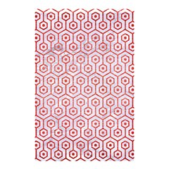 Hexagon1 White Marble & Red Brushed Metal (r) Shower Curtain 48  X 72  (small)  by trendistuff