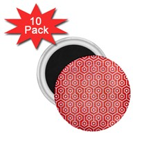 Hexagon1 White Marble & Red Brushed Metal 1 75  Magnets (10 Pack)  by trendistuff