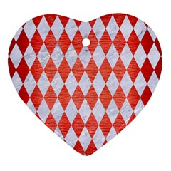 Diamond1 White Marble & Red Brushed Metal Heart Ornament (two Sides) by trendistuff