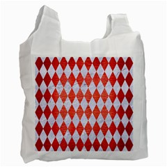 Diamond1 White Marble & Red Brushed Metal Recycle Bag (one Side) by trendistuff