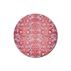 Damask2 White Marble & Red Brushed Metal (r) Rubber Coaster (round)  by trendistuff