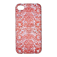 Damask2 White Marble & Red Brushed Metal (r) Apple Iphone 4/4s Hardshell Case With Stand by trendistuff