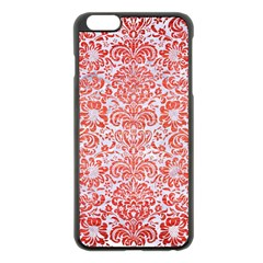 Damask2 White Marble & Red Brushed Metal (r) Apple Iphone 6 Plus/6s Plus Black Enamel Case by trendistuff