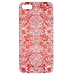 Damask2 White Marble & Red Brushed Metal Apple Iphone 5 Hardshell Case With Stand by trendistuff