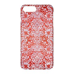Damask2 White Marble & Red Brushed Metal Apple Iphone 8 Plus Hardshell Case by trendistuff