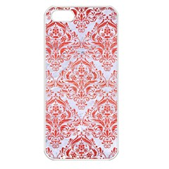 Damask1 White Marble & Red Brushed Metal (r) Apple Iphone 5 Seamless Case (white) by trendistuff