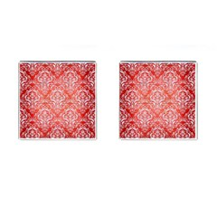 Damask1 White Marble & Red Brushed Metal Cufflinks (square) by trendistuff