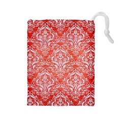 Damask1 White Marble & Red Brushed Metal Drawstring Pouches (large)  by trendistuff