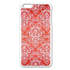 Damask1 White Marble & Red Brushed Metal Apple Iphone 6 Plus/6s Plus Enamel White Case by trendistuff