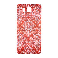 Damask1 White Marble & Red Brushed Metal Samsung Galaxy Alpha Hardshell Back Case by trendistuff