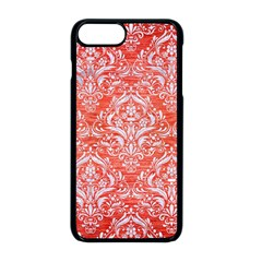 Damask1 White Marble & Red Brushed Metal Apple Iphone 8 Plus Seamless Case (black)