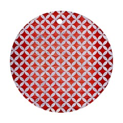 Circles3 White Marble & Red Brushed Metal Round Ornament (two Sides) by trendistuff