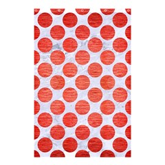Circles2 White Marble & Red Brushed Metal (r) Shower Curtain 48  X 72  (small)  by trendistuff