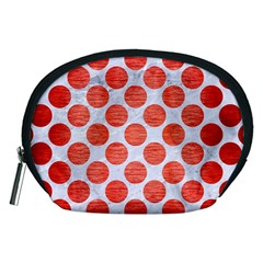 Circles2 White Marble & Red Brushed Metal (r) Accessory Pouches (medium)