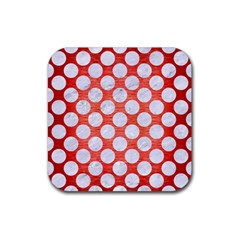 Circles2 White Marble & Red Brushed Metal Rubber Square Coaster (4 Pack)  by trendistuff
